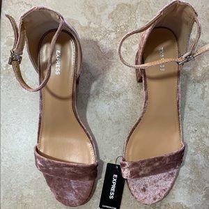 Express velvet block heels